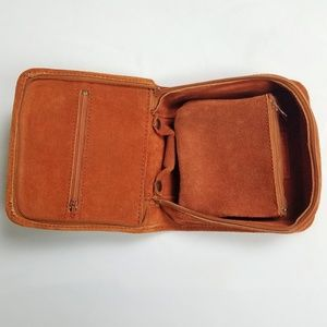 Vintage 70s Suede Leather Travel Jewelry Case